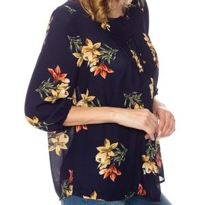 Navy Floral Pintuck Blouse